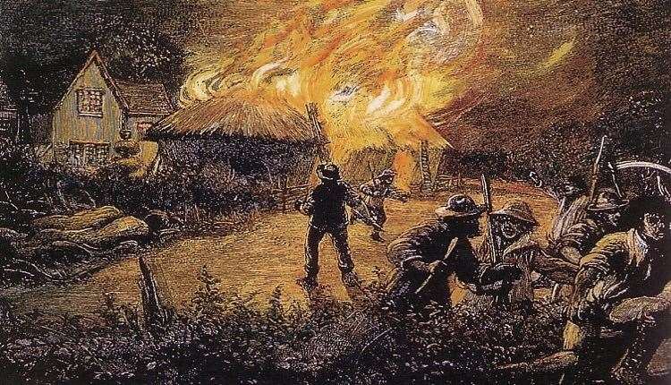 Rioters burn a farm in 1830