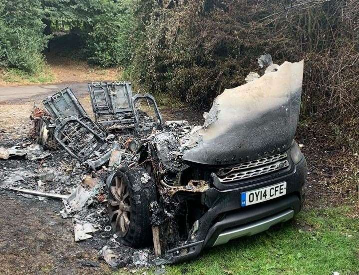 Fire crews were called to the burning vehicle at 1am