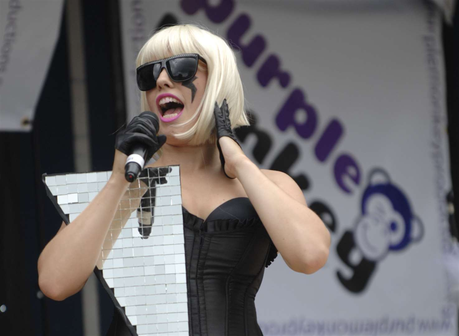 Maidstone River Festival 2010. Lady Gaga Experience Clare Maghi on the Purple Monkey stage. Picture: Matthew Walker