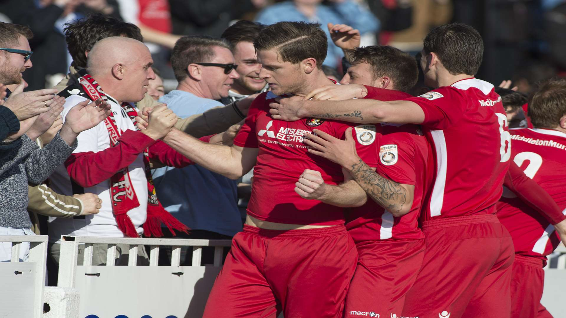 Adam Cunnington celebrates giving Ebbsfleet a fifth-minute lead Picture: Andy Payton