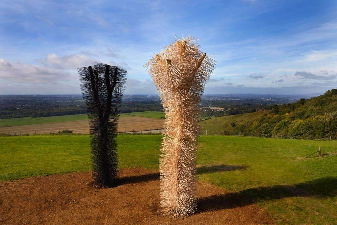 New scuplutres, Ash to Ash, created by artists Ackroyd and Harvey at White Horse Wood near Maidstone