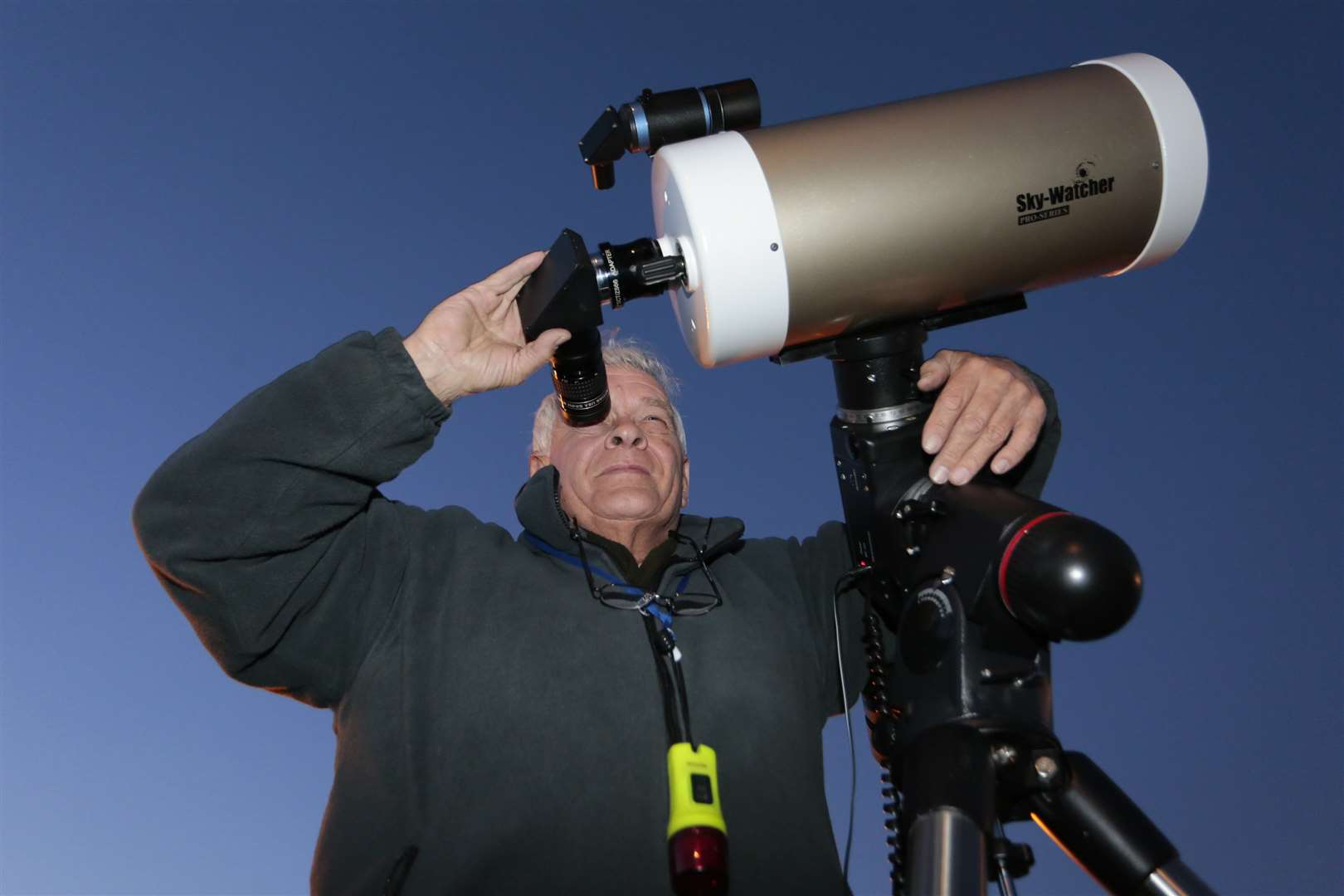 "Alan Larcombe with his 8"" Skywatcher. Picture: Martin Apps"