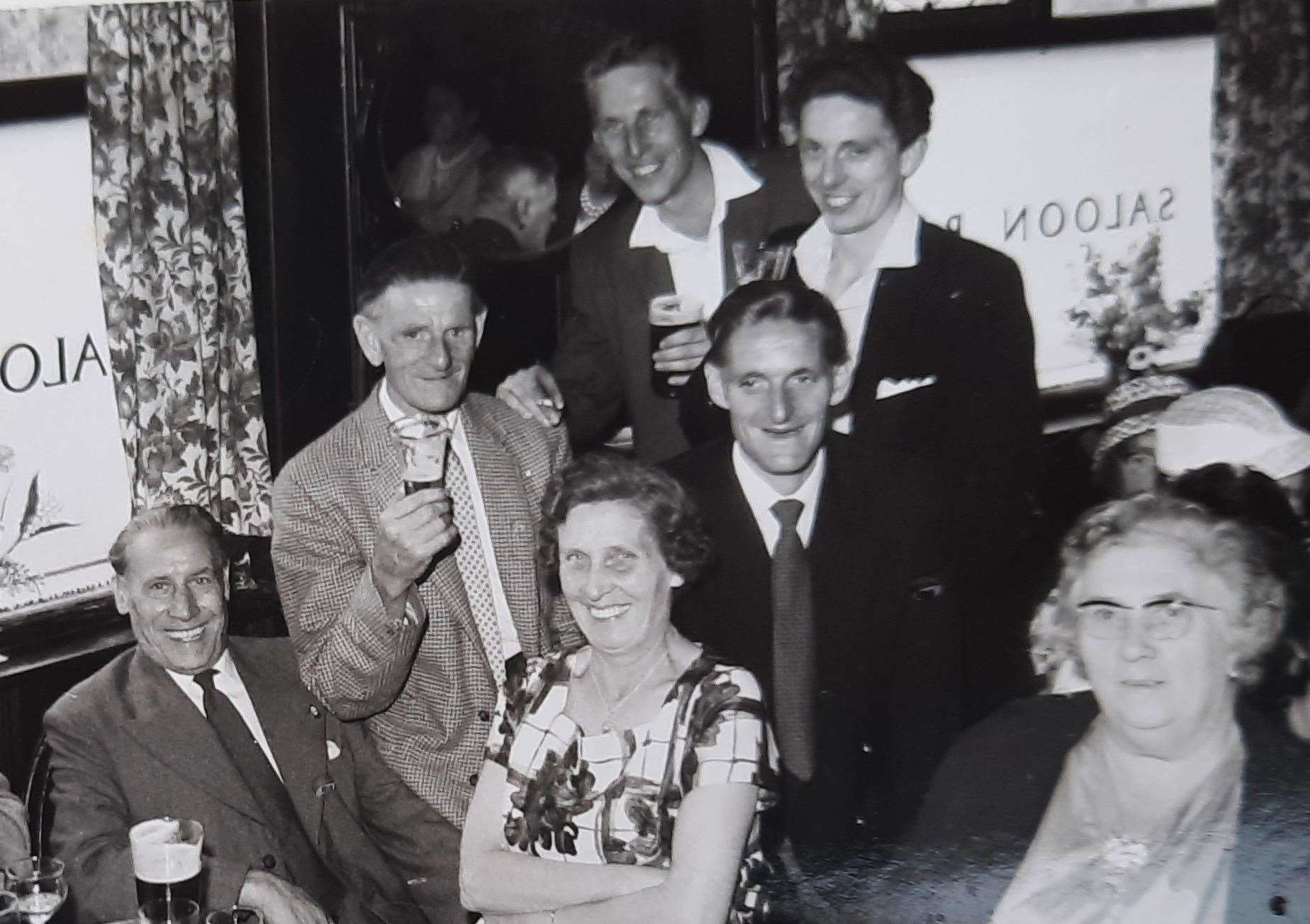Tony and Bob, pictured at the back, in the Miller's Arms in Canterbury in the 1960s