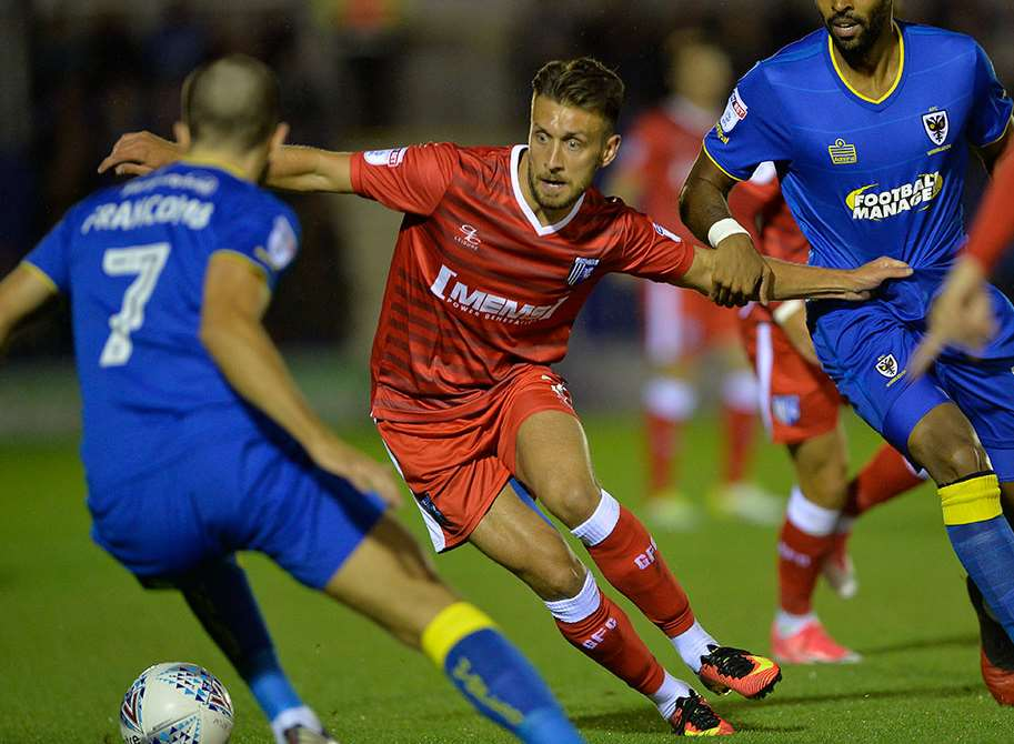 Luke O'Neill for Gillingham at AFC Wimbledon Picture: Ady Kerry
