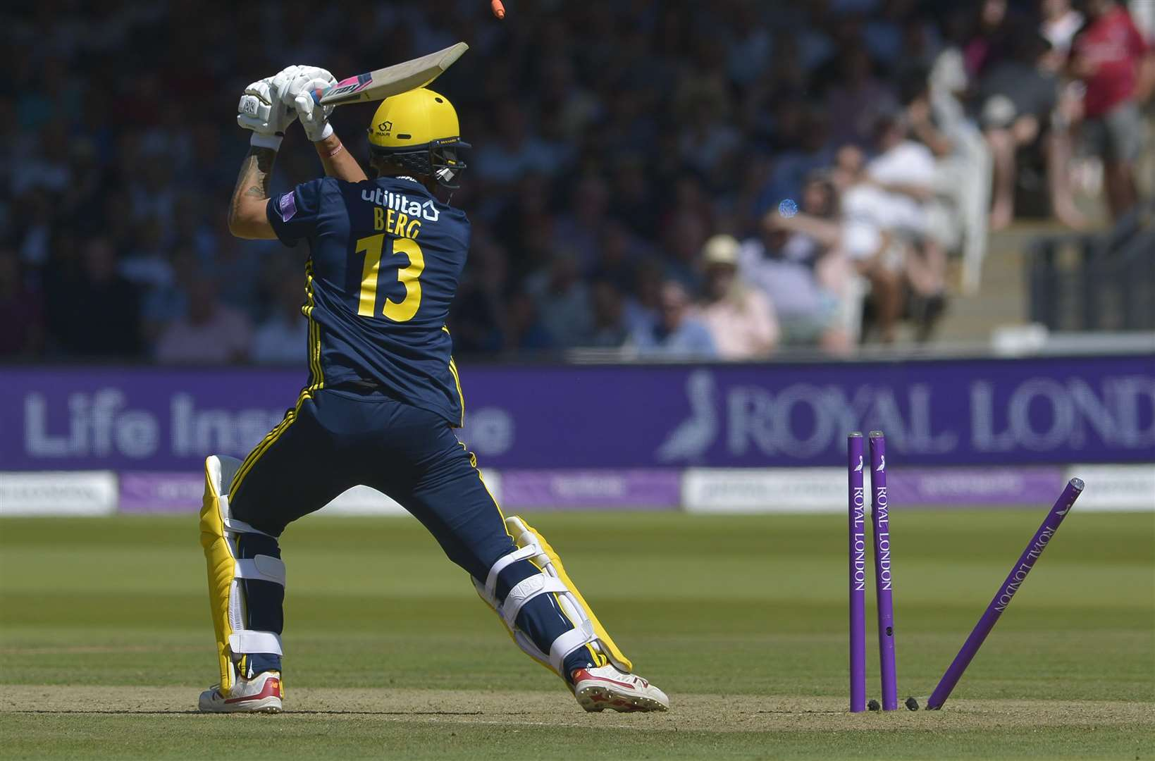 Hampshire 's Gareth Berg is bowled by Calum Haggett Picture: Ady Kerry