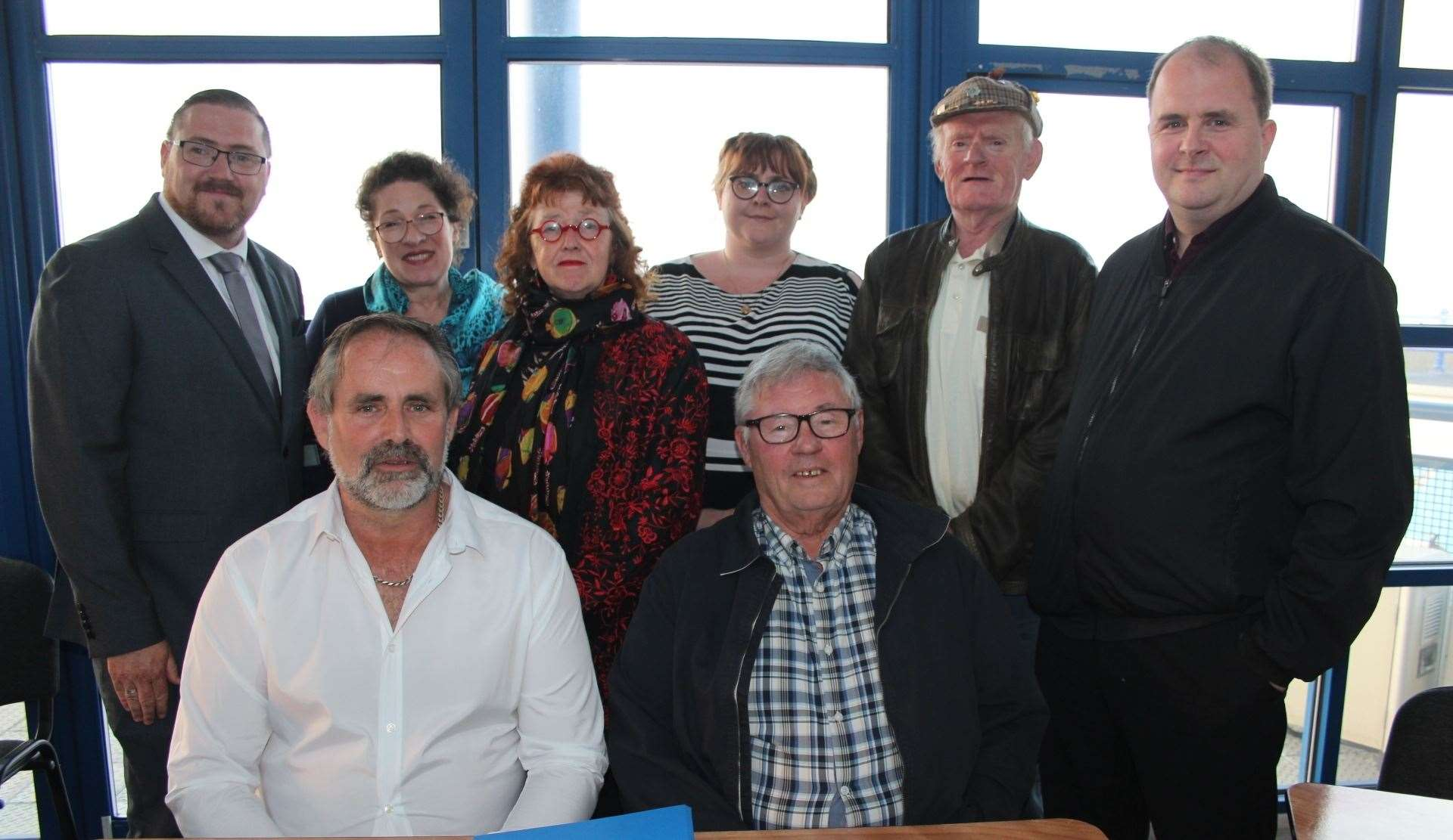 The first meeting of the Sheerness Town Council with chairman Matthew Brown, seated left, with vice-chairman Brian Spoor and, from the left, Lee McCall, Amanda Green, Chris Reed, Cherise Moorcroft, Malcolm Staines and Chris Foulds (10769804)