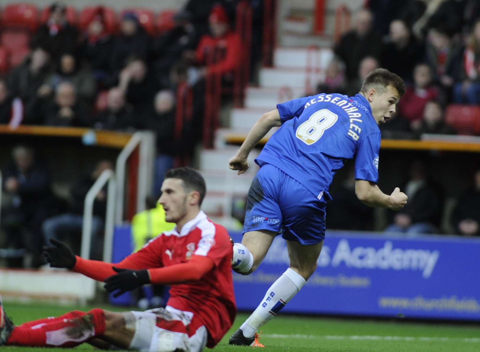 Jake Hessenthaler celebrates putting the Gills ahead Picture: Barry Goodwin