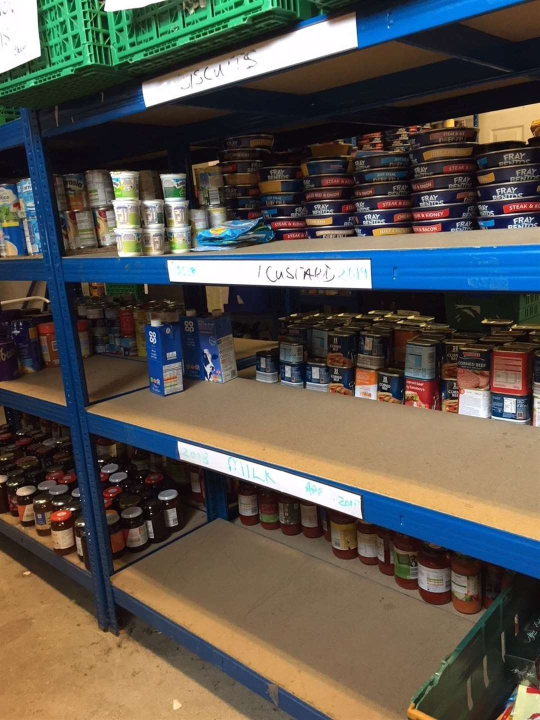 Bare shelves at the Foodbank warehouse in Deal from last year's shortages