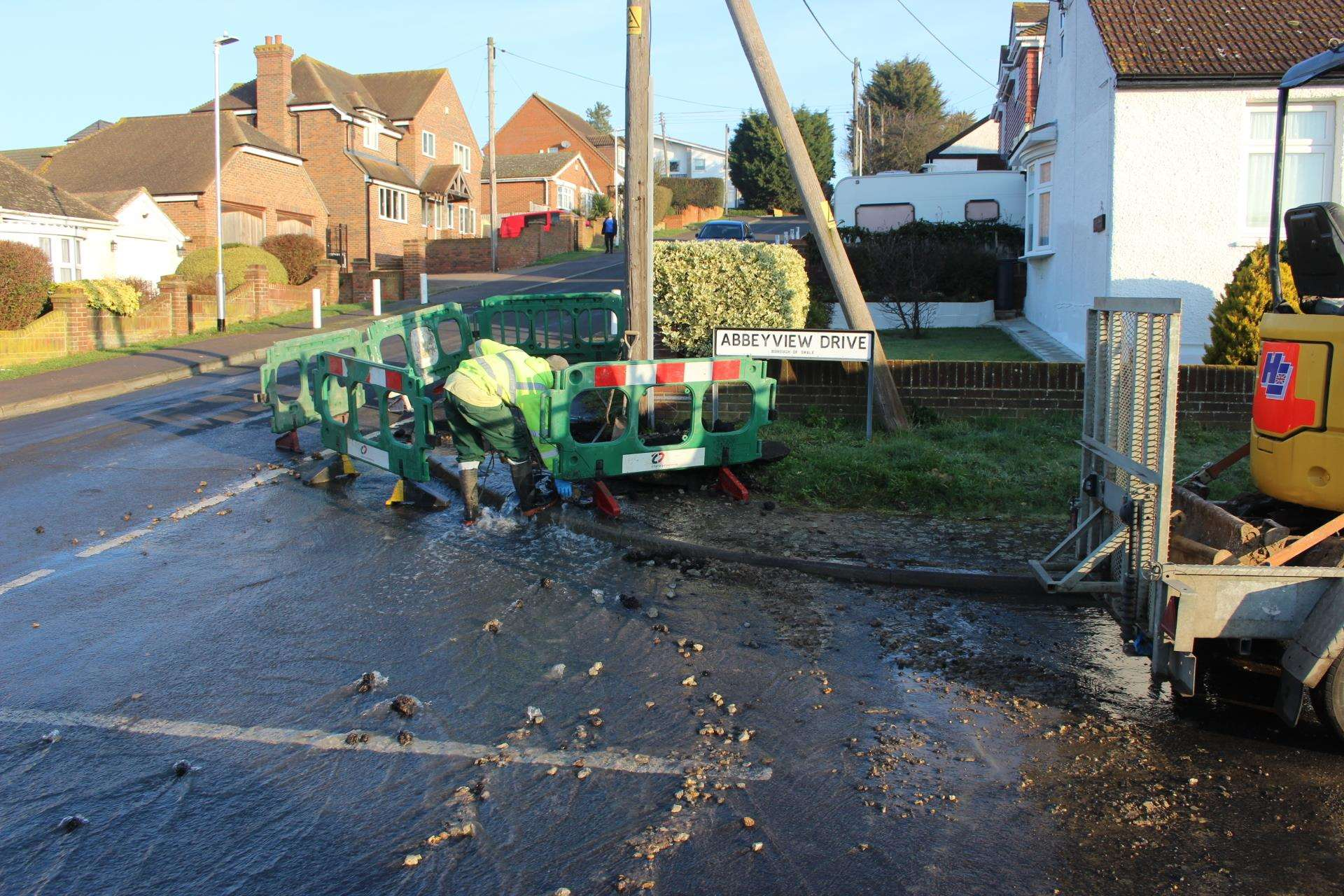 Burst water mains flooded roads in Minster, Sheppey, this morning (7388716)