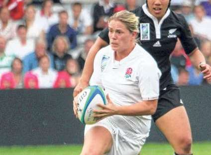 Rachael Burford in action for England Picture: www.rugbymatters.net