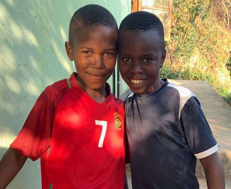 The two youngest boys in Letty's house. Picture: Letty McMaster/SWNS