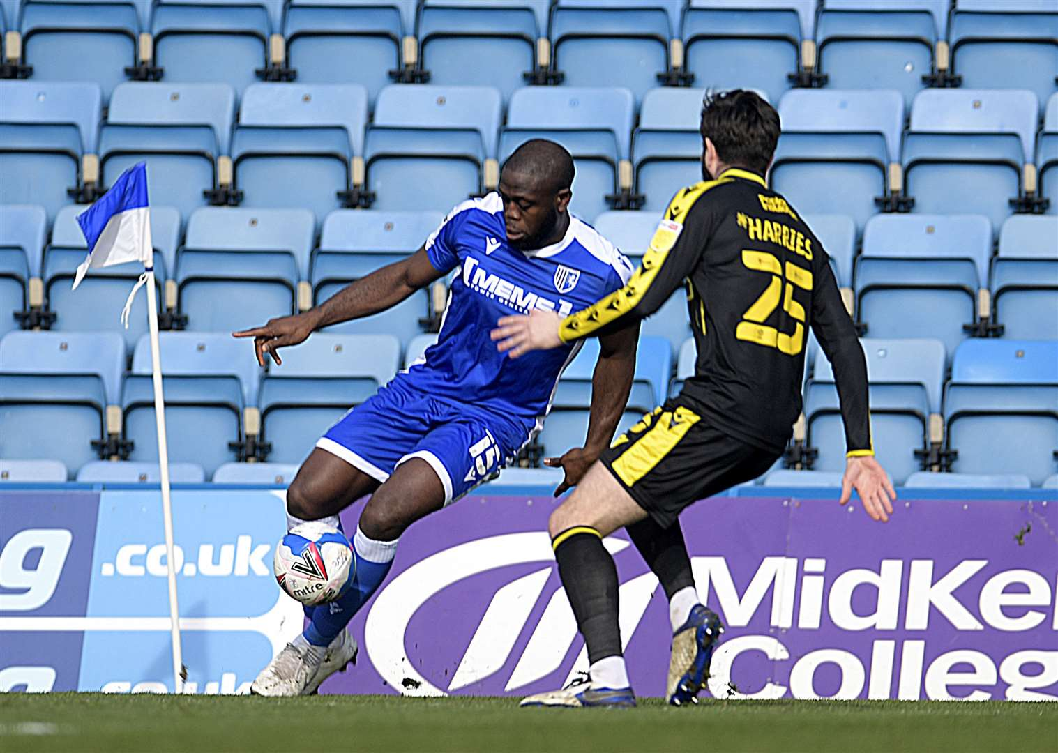 John Akinde in action against Bristol Rovers during the opening half Picture: Barry Goodwin