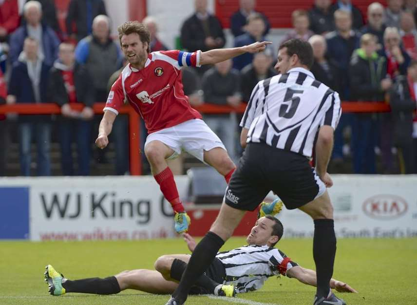 Daryl McMahon scores against Dorchester Town Picture: Andy Payton