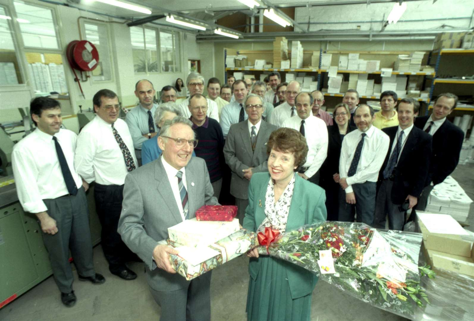 Staff at Terence Chedgey's retirement in March 1996