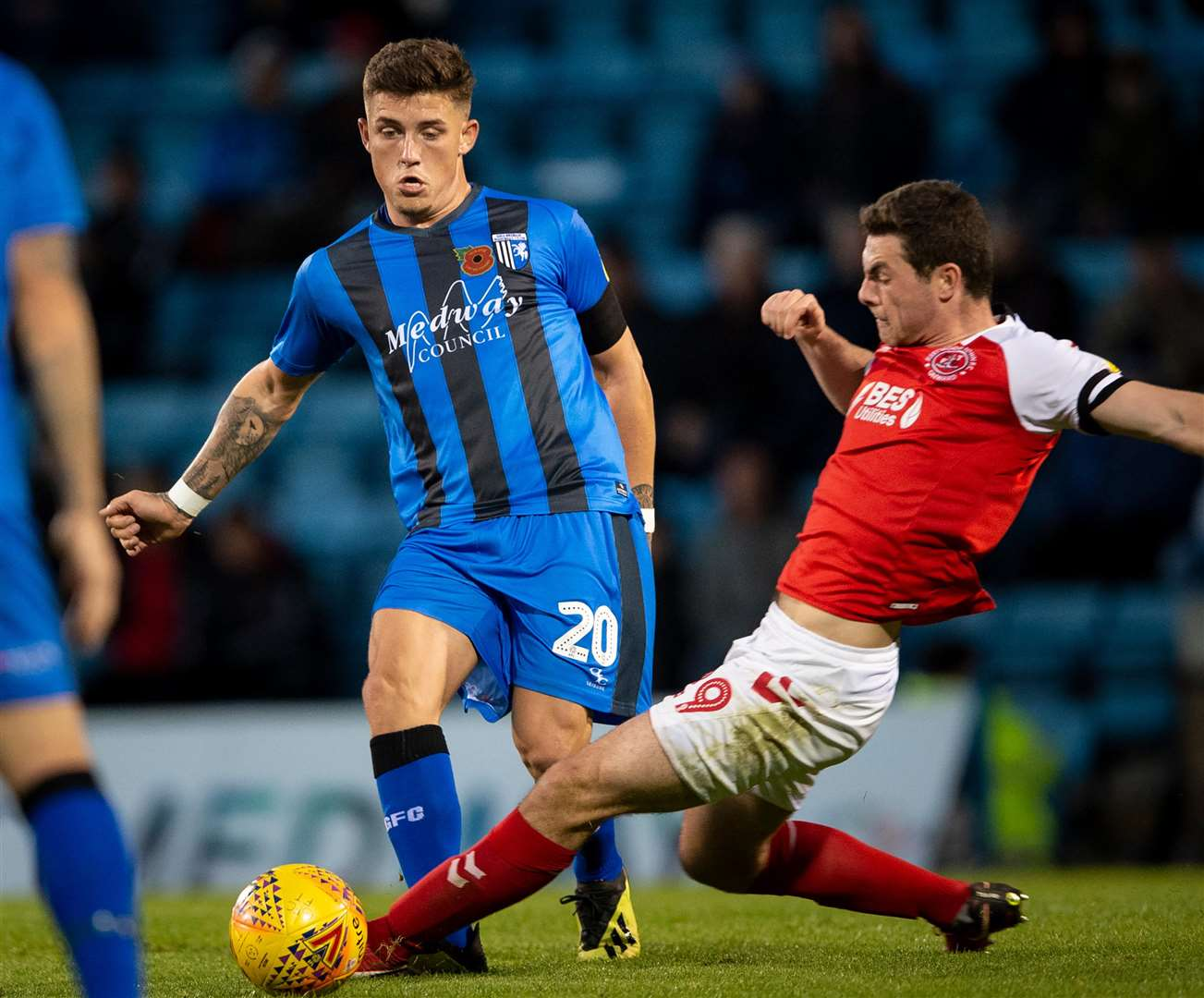 Gillingham's Darren Oldaker takes on Fleetwood's Nathan Sheron Picture: Ady Kerry