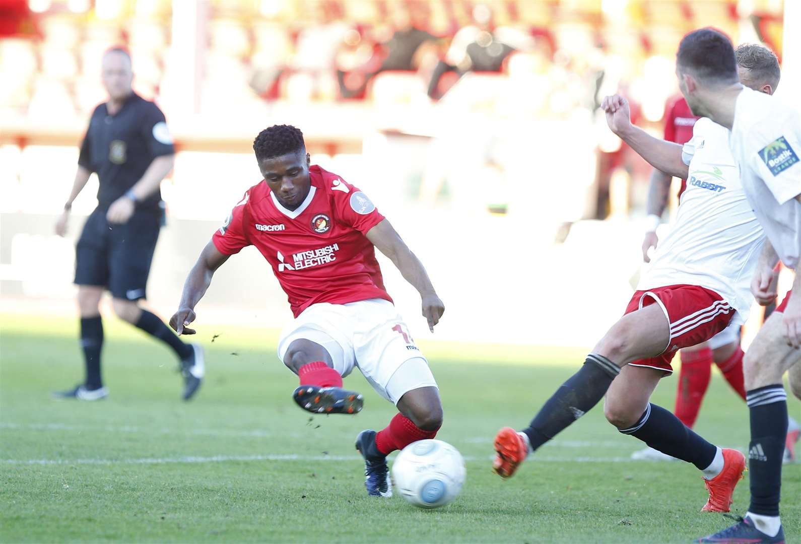Darren McQueen in action for Ebbsfleet earlier this season Picture: Andy Jones