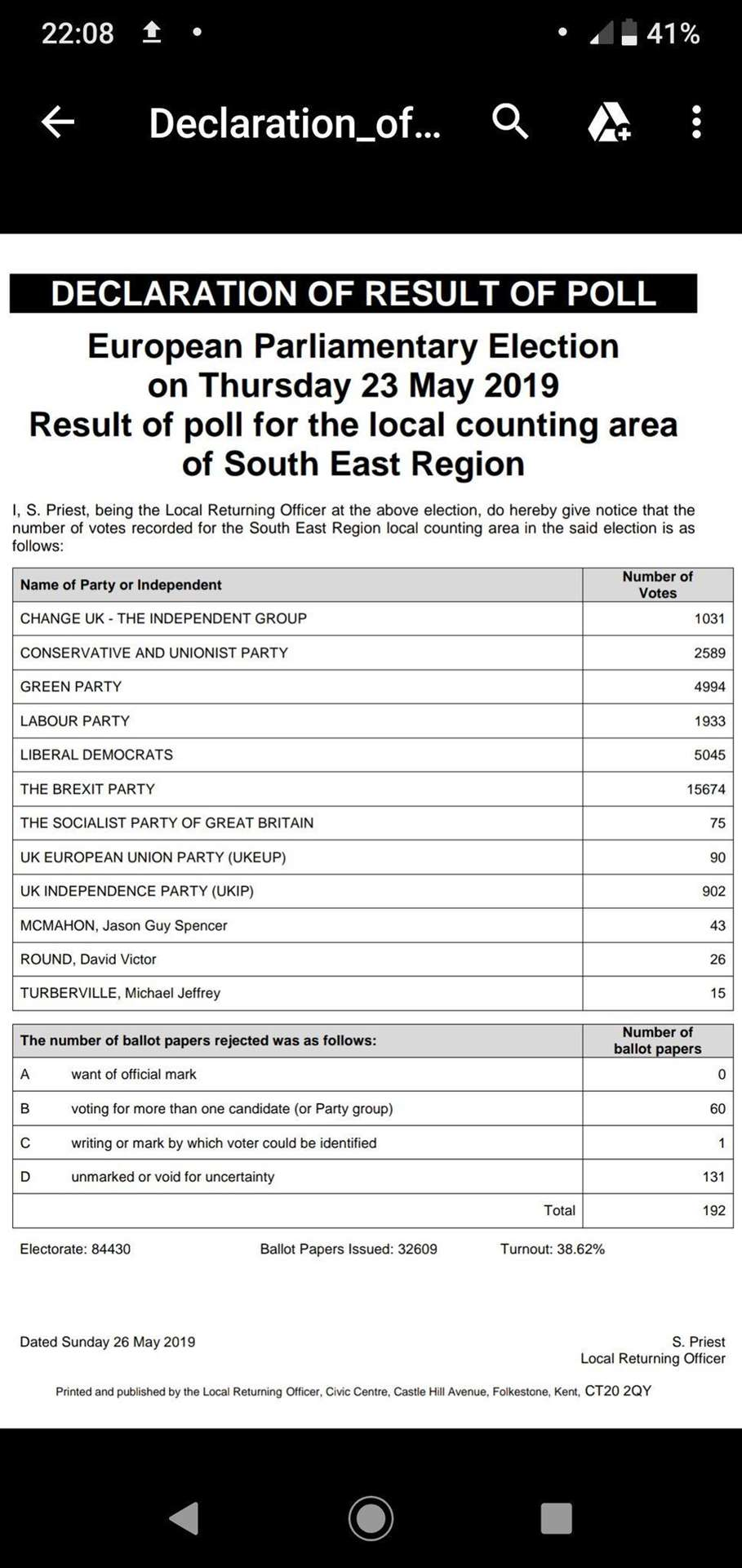 The results from Folkestone (11199514)