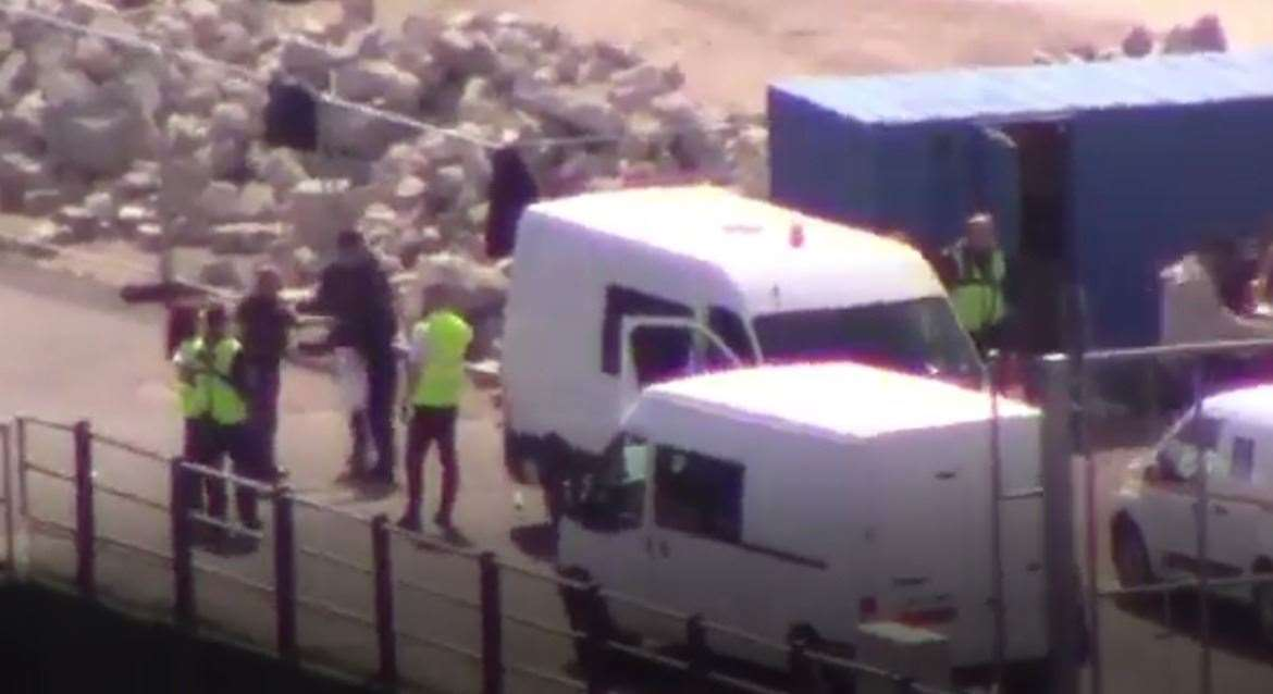 Some of the migrants being helped in Dover