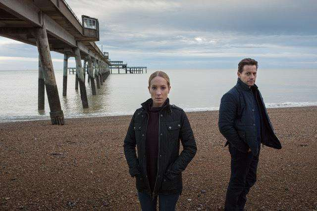 Joanne Froggatt and Ioan Gruffudd at Deal Pier for the first series of Liar. Picture courtesy of ITV