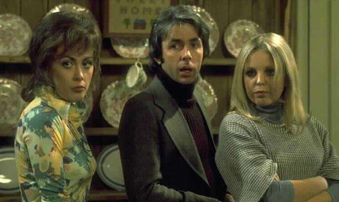 Paula Wilcox, Richard O'Sullivan and Sally Thomsett in Man About The House