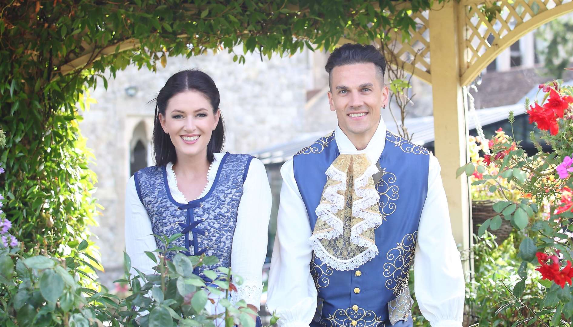 Ashleigh Cavanagh as Belle and Aaron Sidwell as Prince Marius or the Beast