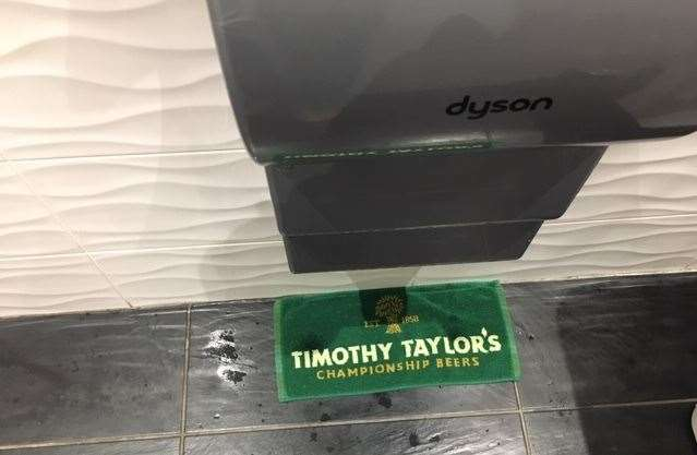 Attention to detail – ever noticed how you get drips under those Dyson airblade hand-driers? A Timothy Taylor beer towel solves the problem