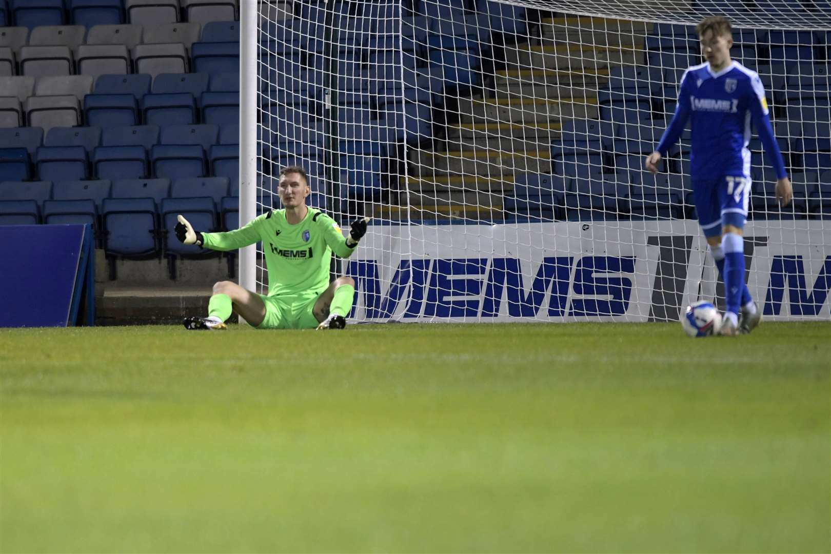 Gillingham goalkeeper Jack Bonham after goal number two had been scored Picture: Barry Goodwin