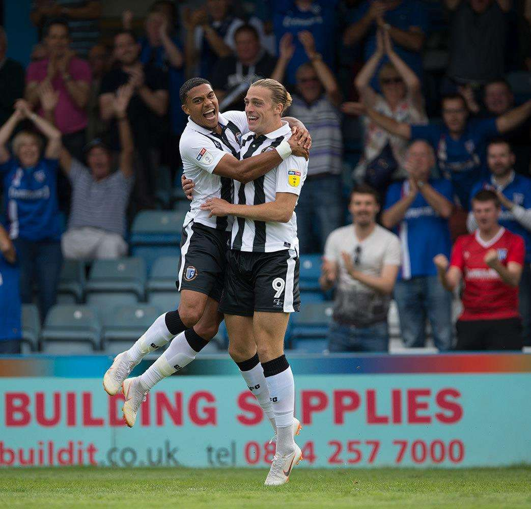 Tom Eaves and Bradley Garmston celebrate a goal for Gillingham Picture: Ady Kerry