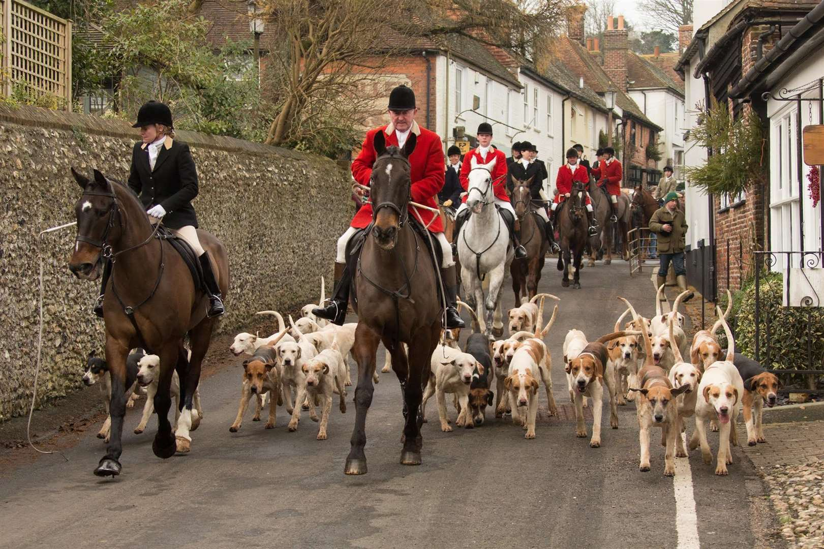 The East Kent with West Kent Hunt arrives in Elham Square back in 2014