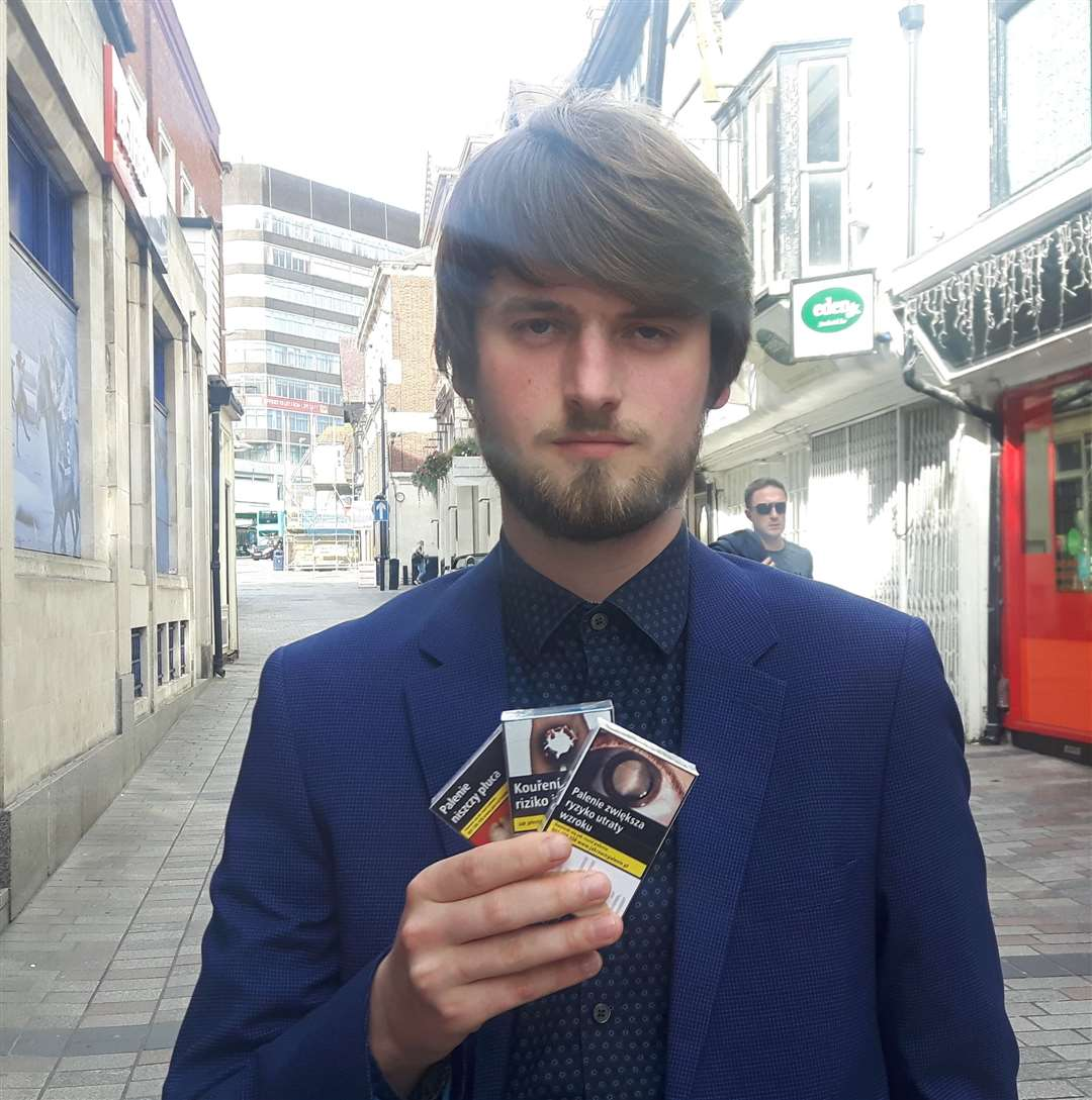 Brad with the illegally-bought cigarettes