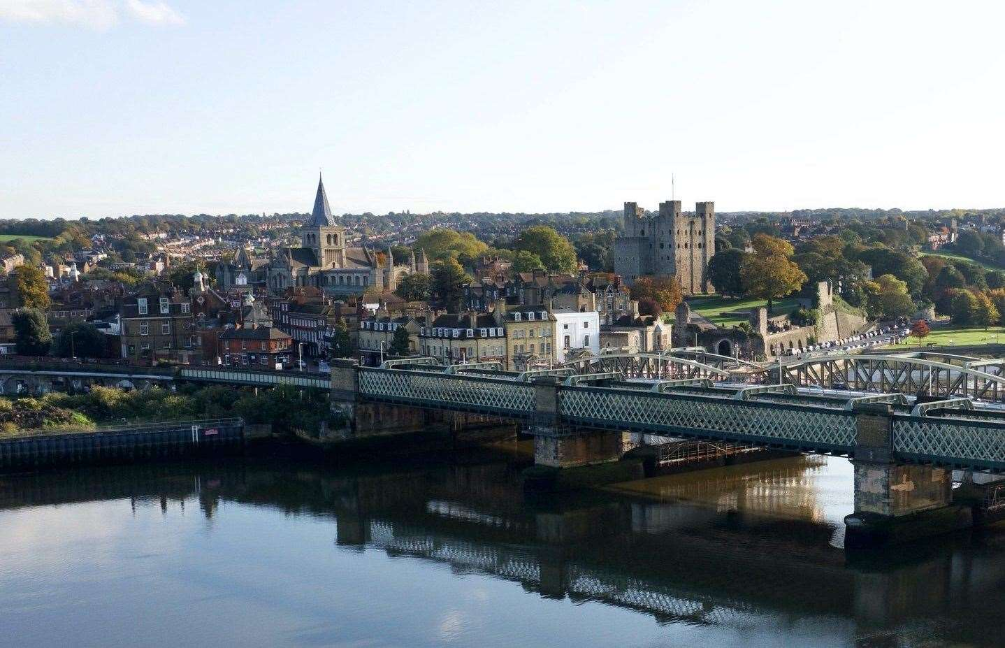 An aerial photo of Rochester captured by Geoff Watkins of Aerial Imaging South East