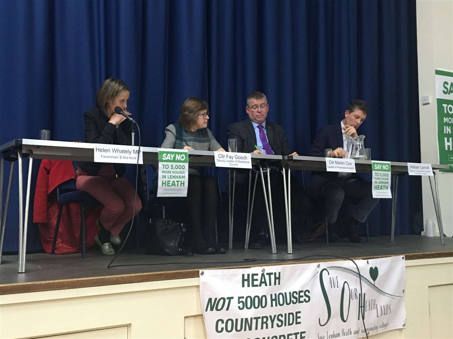 Helen Whately, Fay Gooch, Martin Cox and William Cornall discuss the Lenham Heath proposals (27538591)