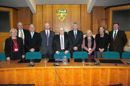 New Ashford council leader Cllr Gerry Clarkson (centre) with cabinet members