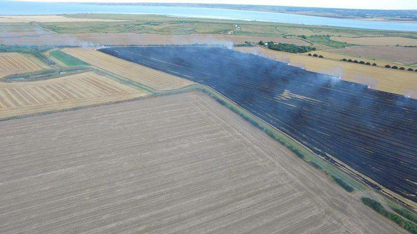 The field fire in Eastchurch, Sheppey. Picture: Alan Smisson