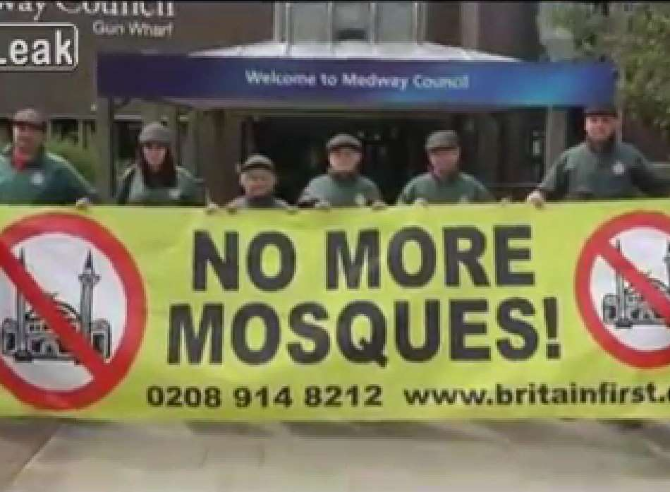 Britain First activists oppose a new Mosque which is awaiting planning approval