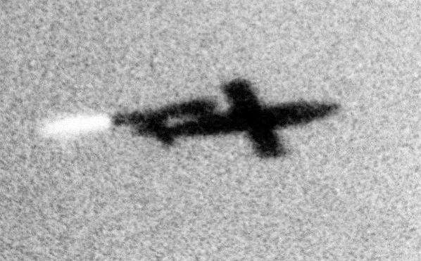 A V-1 crossing the coast at dawn in June 1944
