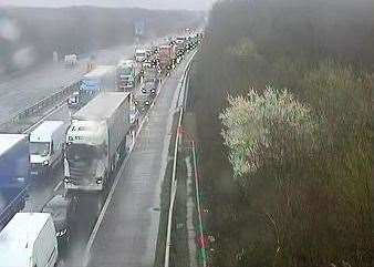 Trouble at Junction 7 of the M20. Picture: Highways England