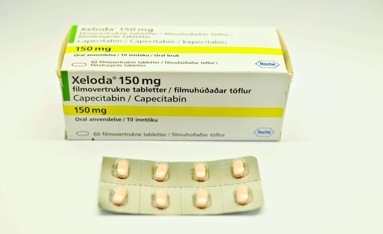 Capecitabine, sold under the brand name Xeloda among others, is a chemotherapy medication. Credit: Flickr - Haukeland universitetssjukehus. Creative Commons license. (8383768)