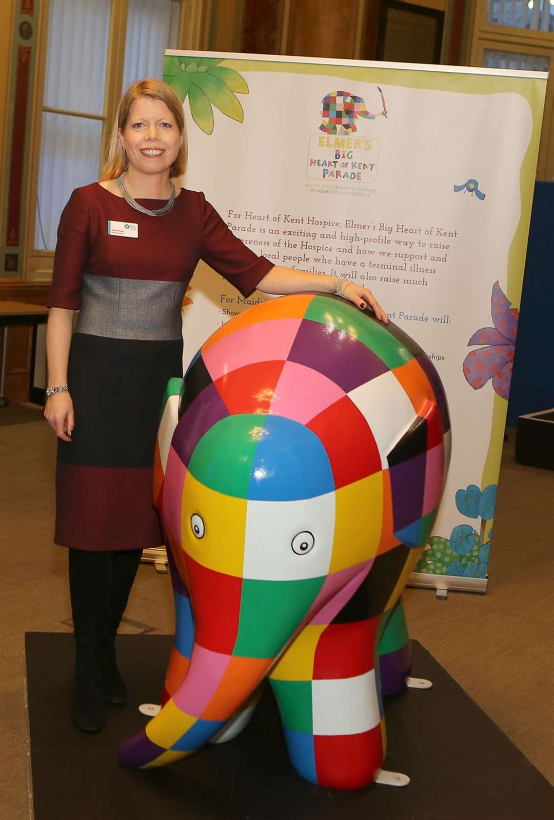Sarah Pugh from the Heart of Kent Hospice with Elmer