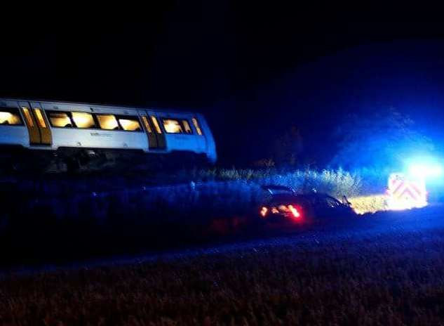 The derailed train soon after the crash. Picture: Charlie Kay