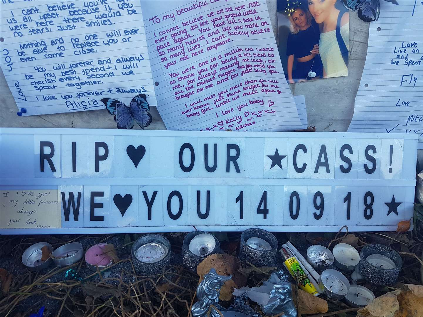 Tributes to Casey were left at the roadside
