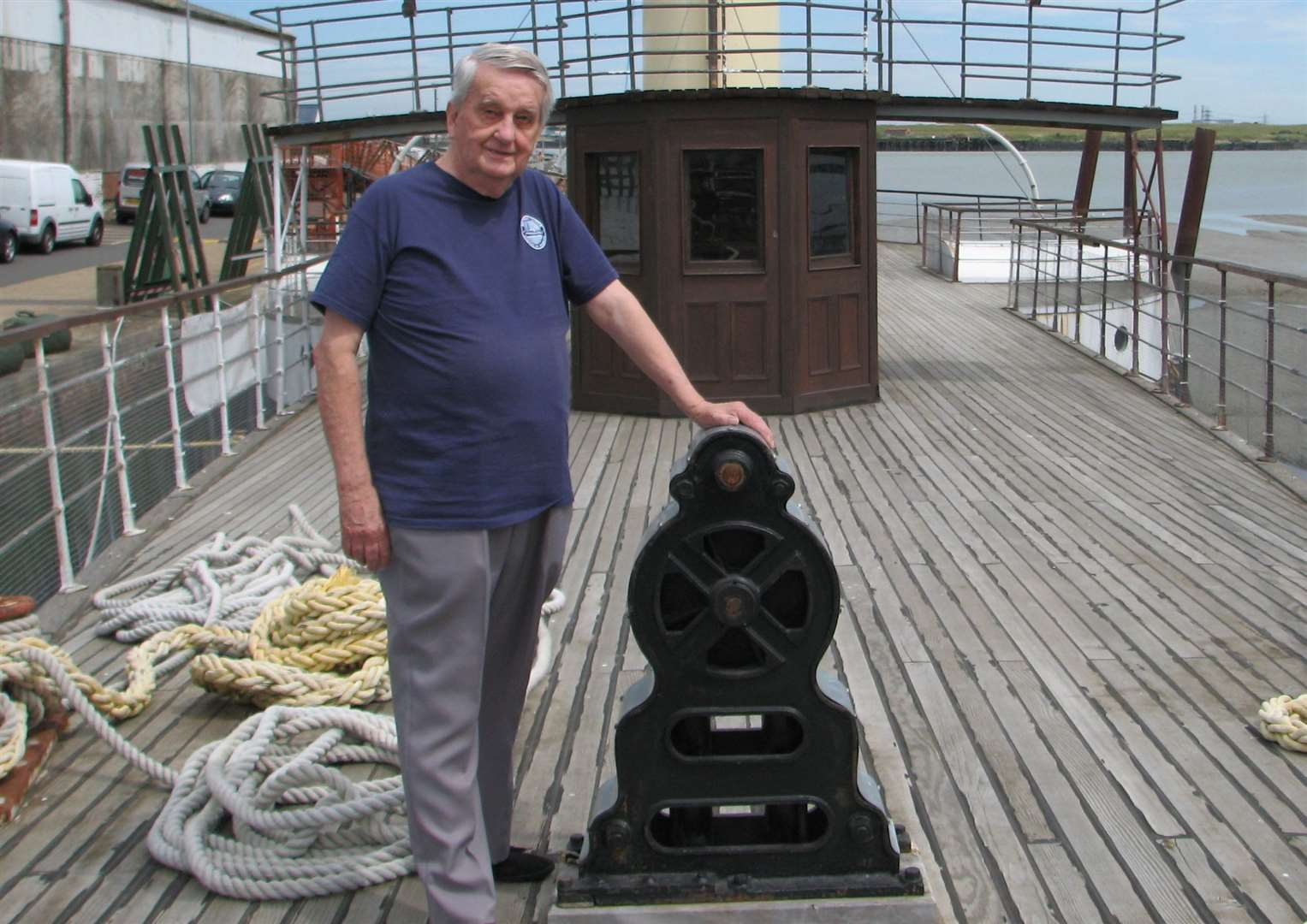 Brian Goodhew on board the Medway Queen
