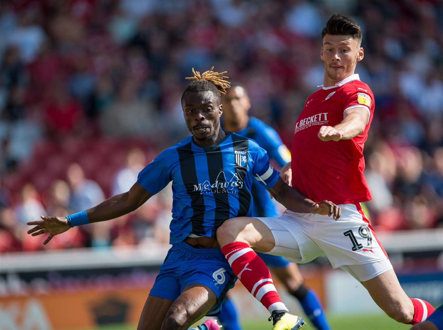 Gabriel Zakuani in action for Gillingham against Barnsley Picture: Ady Kerry