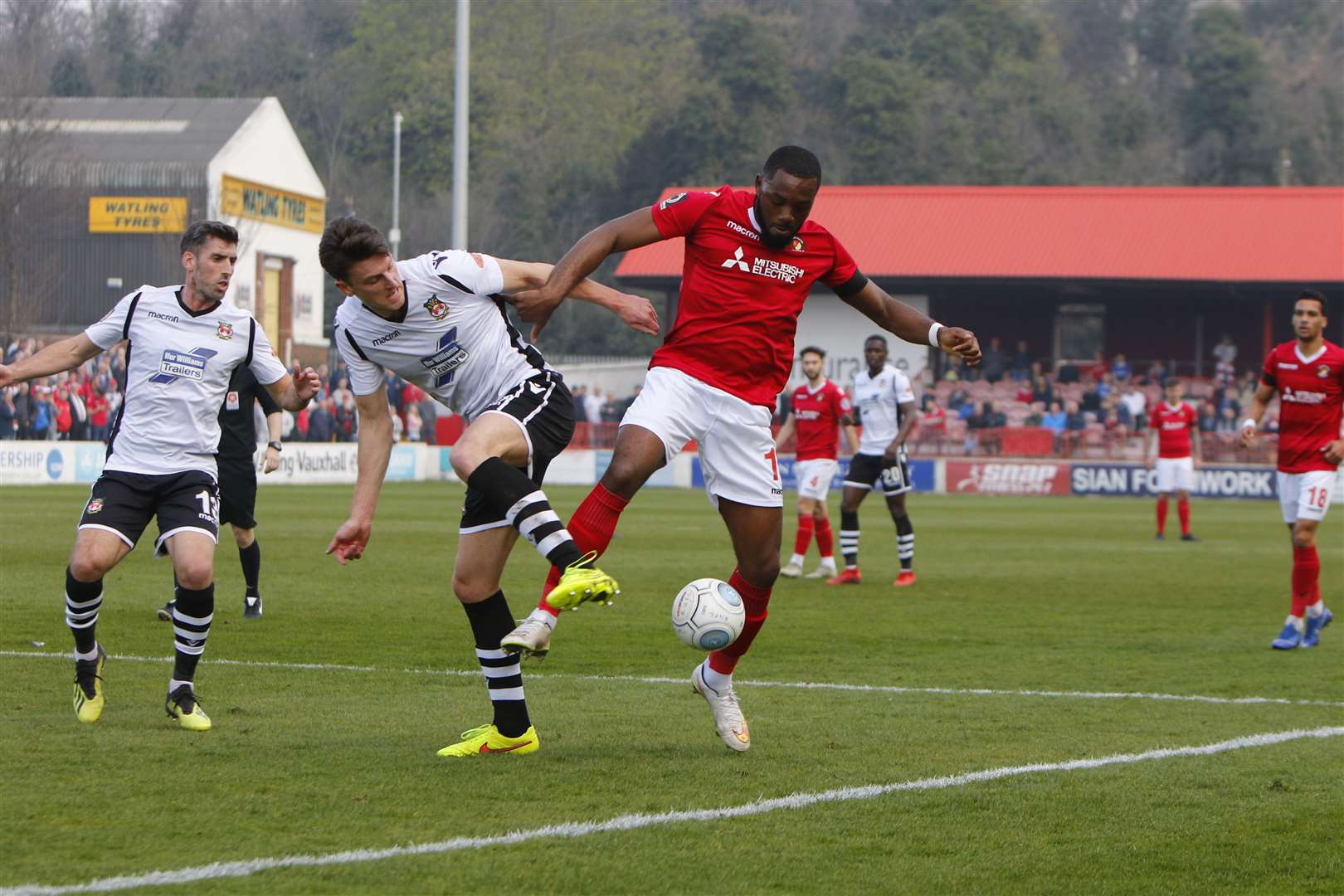Gozie Ugwu gets the better of his man in the box Picture: Andy Jones