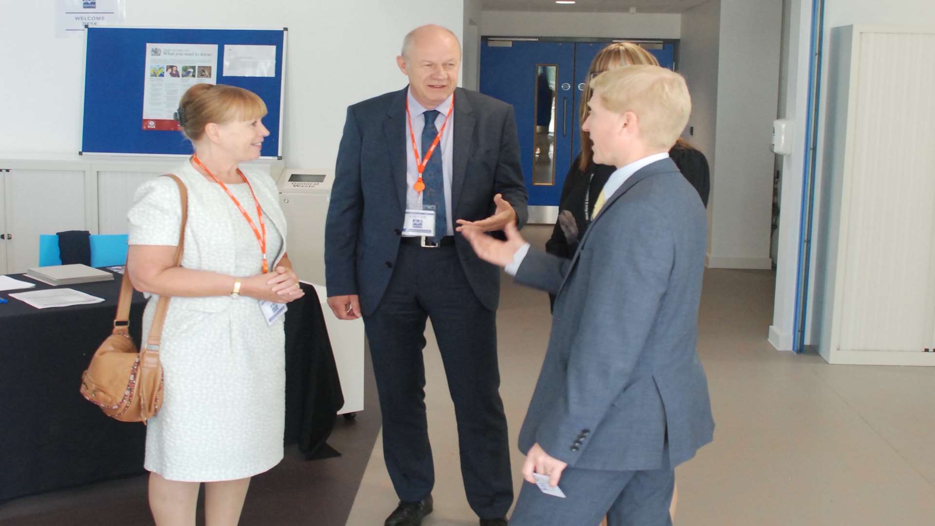 Ashford MP Damian Green and Kent Invicta Chamber of Commerce chief executive Jo James visit the newly opened Ashford College site