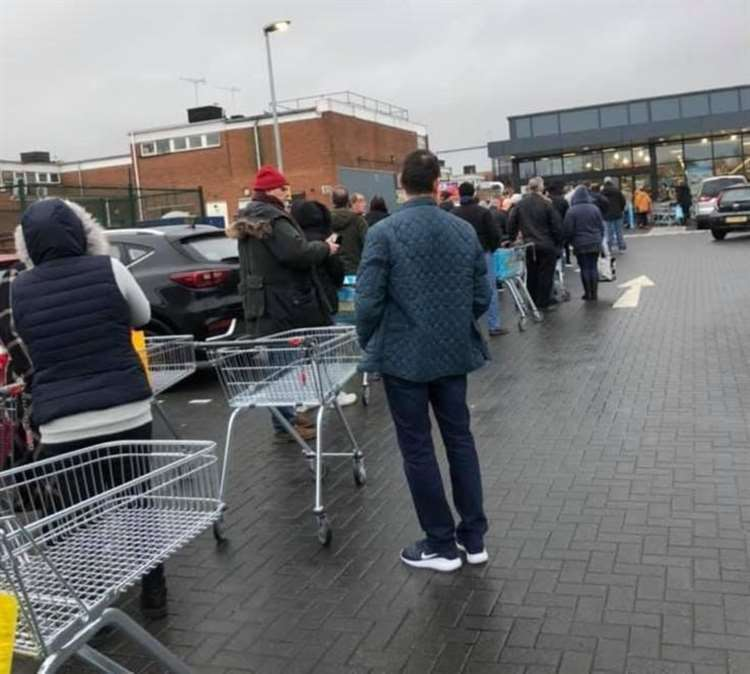 Panic buying had lead to queues like this outside Aldi in Strood last weekend.
