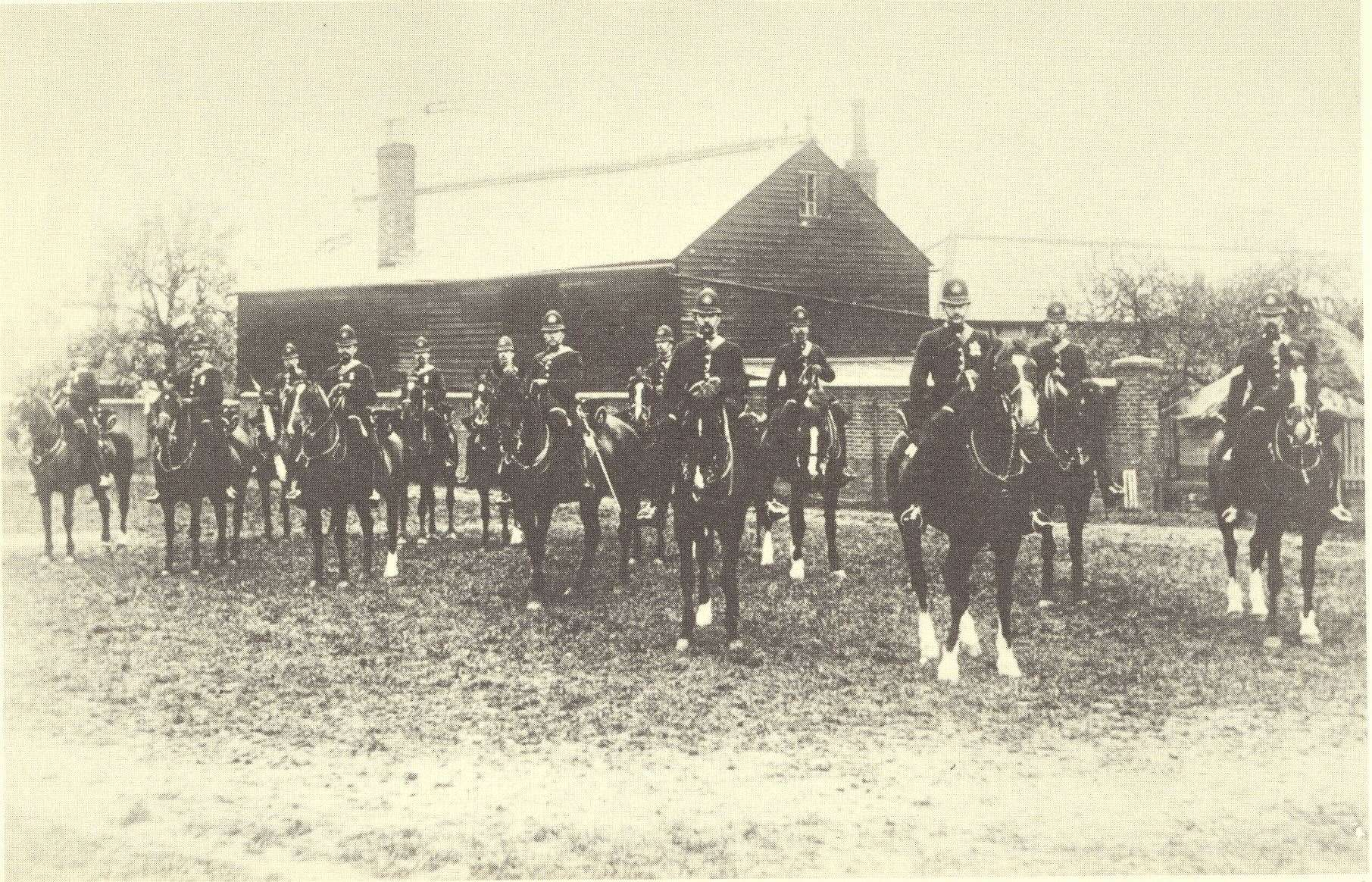 Kent County Constabulary's mounted police officers in the paddock at Wrens Cross. Picture: History of Kent County Council