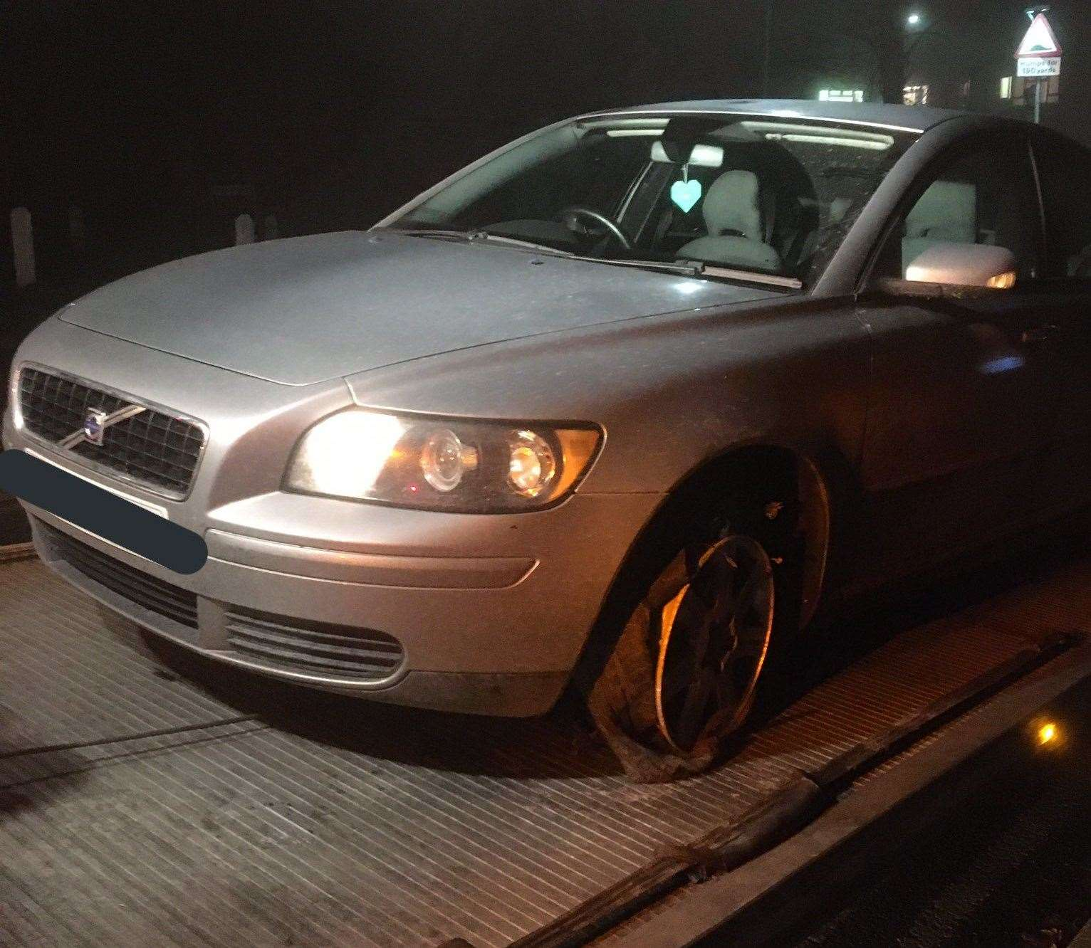 The Volvo estate reached up to 110mph in the chase. Photo: Kent Police RPU