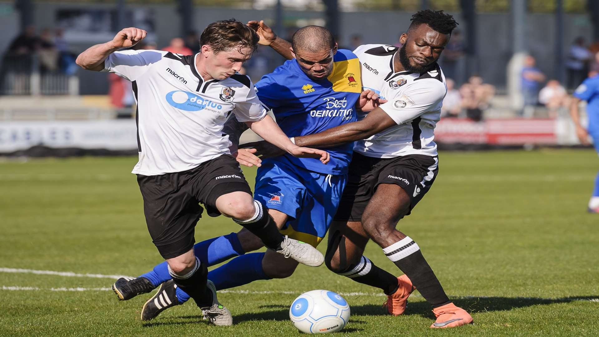 Dartford's Lee Noble and Duane Ofori-Acheampong in action during last week's win over Eastbourne. Picture: Andy Payton
