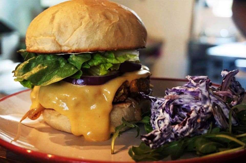 A vegan mega burger at Beano's